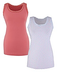 Pack Of 2 Print Jersey Vests