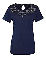 Jersey Top With Diamante Detail