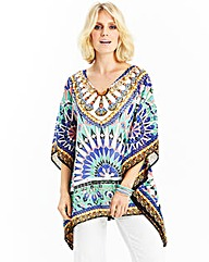 Printed Kaftan with Diamante Detail