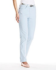 Coloured Straight Leg Jeans Length Short