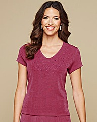 Slinky Caviar Beaded Jersey Top