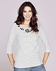 Stripe Embellished Jersey Top