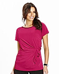 Hot Pink Side Tie Top With Beading