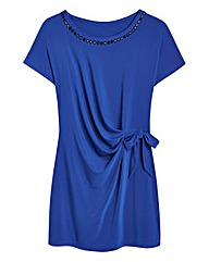 Cobalt Jersey Side Tie Top With Beading