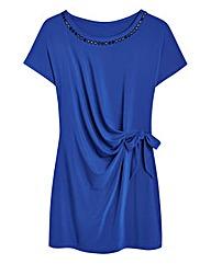 Cobalt Jersey Side Tie Top With Beading