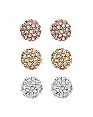 Jon Richard Triple Ball Stud Earring Set