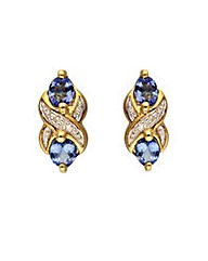 9ct Gold Tanzanite & Diamond Earrings