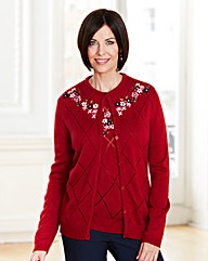 Round Neck Cardigan With Flowers