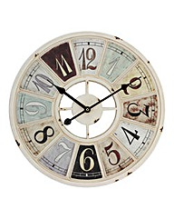 Hometime Antique Cream Metal Wall Clock