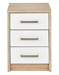 Canyon Gloss 3 Drawer Bedside Table