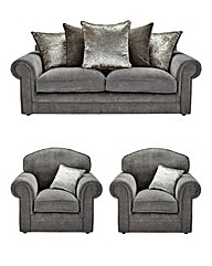 Shimmer 3 Seater Sofa Plus 2 Chairs