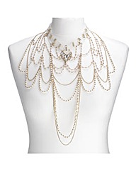 Mood Pearl Layered Choker Drop Necklace