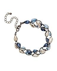 Mood Blue Facet Bead Twist Bracelet