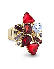 Mood Red Stone Cluster Stretch Ring