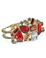 Mood Red Tonal Stone Set Hinged Bangle