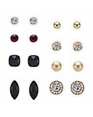 Mood Jet And Crystal Stud Earrings