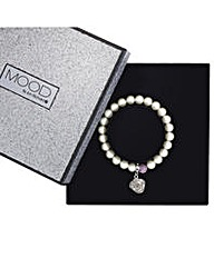 Mood pearl and floral stretch bracelet
