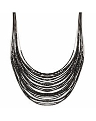Mood Jet Seed Bead Multirow Necklace