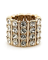 Mood Crystal Bar Gold Stretch Ring
