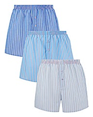 Southbay Pack Of 3 Woven Stripe Boxers