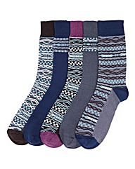 Southbay Pack of 5 Fair Isle Socks
