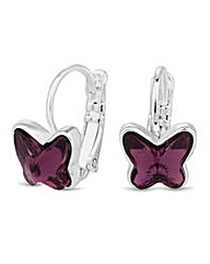 Jon Richard Lilac butterfly drop earring