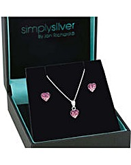 Simply Silver ombre heart necklace set