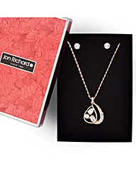 Jon Richard Rose gold loop jewellery set