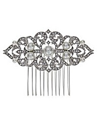 Jon Richard Vintage pearl scroll comb