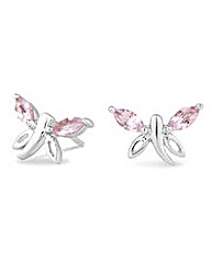 Simply Silver pink butterfly earring