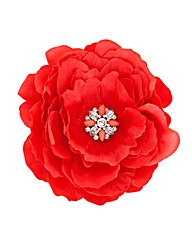 Mood Red Fabric Flower Brooch