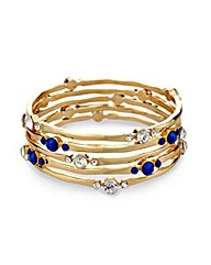 Mood Blue And Crystal Stone Bangle Set