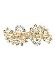 Mood Pearl Crystal Bow Hair Barrette