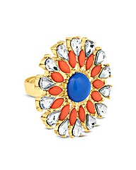 Mood Navette Floral Adjustable Ring