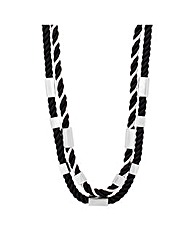 Mood Monochrome Cord Metal Bar Necklace