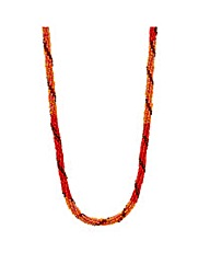 Mood Orange Seed Bead Twist Necklace