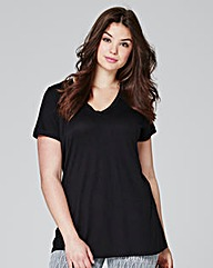 Black V-neck Viscose T-shirt