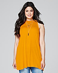 Orange Sleeveless Split Back Top