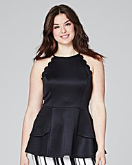 Black Scallop Peplum