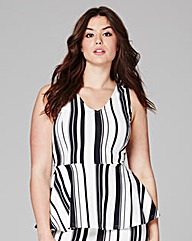 Mono Stripe V-Neck Peplum