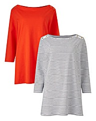 Pack Of 2 Boat Neck Jersey Tops