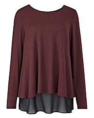 Damson Split Back Chiffon Insert Top