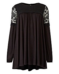 Black Lace Yoke Swing Top