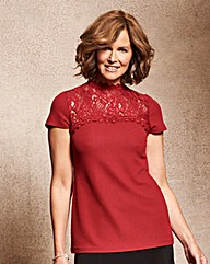 Ruby Red Textured Top with Lace Trim