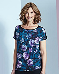 Jade Floral Woven Front Jersey Top