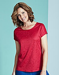 Red Jersey Jacquard Top