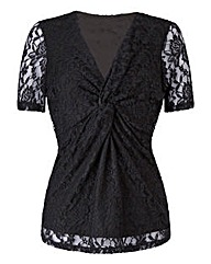 Black Lace Twist Knot Jersey Top