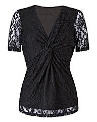 Black Lace Twist Knot Jersey Top
