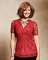 Ruby Red Lace Twist Knot Jersey Top