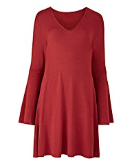 Ruby Red Bell Sleeve Tunic